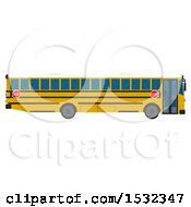 3d Yellow School Bus From The Side
