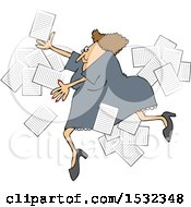 Clipart Of A Business Woman Slipping With Papers Flying Around Royalty Free Vector Illustration