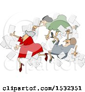 Group Of Business Women Falling With Papers Flying Around