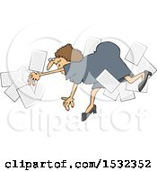 Clipart Of A Business Woman Falling With Papers Flying Around Royalty Free Vector Illustration