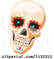 Clipart Of A Cinco De Mayo Mexican Skull Design Royalty Free Vector Illustration