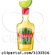 Clipart Of A Cinco De Mayo Tequila Bottle With Lime Royalty Free Vector Illustration