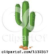 Clipart Of A Saguaro Cactus Royalty Free Vector Illustration