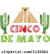 Clipart Of A Cinco De Mayo Design With El Castillo And Cactus Royalty Free Vector Illustration