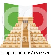 Cinco De Mayo With El Castillo Pyramid And Flag