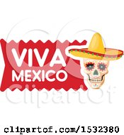 Clipart Of A Viva Mexico Skull Design Royalty Free Vector Illustration