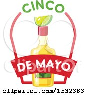 Clipart Of A Cinco De Mayo Tequila Bottle With Lime Royalty Free Vector Illustration by Vector Tradition SM