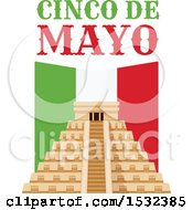 Clipart Of A Cinco De Mayo With El Castillo Pyramid Royalty Free Vector Illustration by Vector Tradition SM