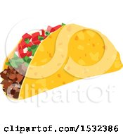 Clipart Of A Cinco De Mayo Mexican Taco Royalty Free Vector Illustration by Vector Tradition SM