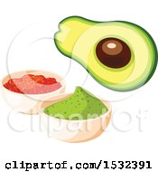 Clipart Of A Cinco De Mayo Avocado With Salsa And Guacamole Royalty Free Vector Illustration by Vector Tradition SM