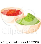 Clipart Of A Cinco De Mayo Mexican Salsa And Guacamole Royalty Free Vector Illustration by Vector Tradition SM