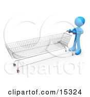 Blue Person Pushing A Super Long Shopping Cart In A Store While Planning To Purchase A Lot