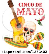 Clipart Of A Cinco De Mayo Mexican Skull Design Royalty Free Vector Illustration by Vector Tradition SM