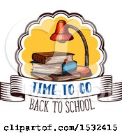 Clipart Of A Sketched Back To School Book Design Royalty Free Vector Illustration
