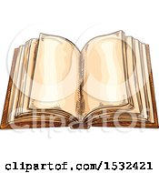Clipart Of A Sketched Open Book Royalty Free Vector Illustration by Vector Tradition SM