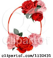 Red And Pink Rose Frame Design