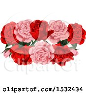 Poster, Art Print Of Red And Pink Rose Design