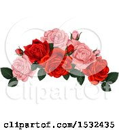 Clipart Of A Red And Pink Rose Design Royalty Free Vector Illustration by Vector Tradition SM