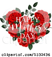 Happy Mothers Day Greeting Over A Heart Formed Of Red Roses