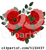 Clipart Of A Heart Formed Of Red Roses Royalty Free Vector Illustration