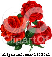 Clipart Of A Red Rose Design Royalty Free Vector Illustration