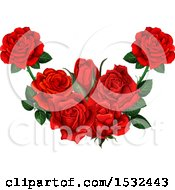 Clipart Of A Heart Formed Of Red Roses Royalty Free Vector Illustration by Vector Tradition SM