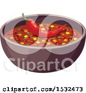 Clipart Of A Bowl Of Chile Royalty Free Vector Illustration