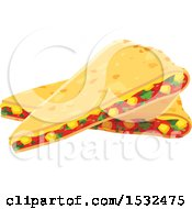 Clipart Of A Quesadilla Royalty Free Vector Illustration by Vector Tradition SM