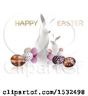 Clipart Of A Happy Easter Greeting Over White Bunnies And Eggs On A Reflective White Background Royalty Free Vector Illustration by dero