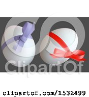Clipart Of 3d Easter Eggs With Ribbons And Bows On Gray Royalty Free Vector Illustration by dero