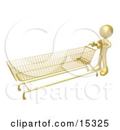 Gold Person Pushing A Super Long Shopping Cart In A Store While Planning To Purchase A Lot Clipart Illustration Image