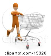 Orange Person Running Through A Store And Pushing A Shopping Cart Clipart Illustration Image