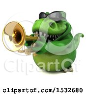 3d Green T Rex Dinosaur Playing A Trumpet On A White Background
