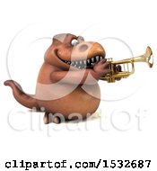 3d Brown T Rex Dinosaur Playing A Trumpet On A White Background