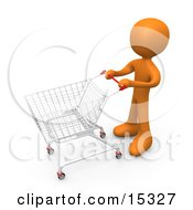 Orange Person Standing With A Shopping Cart In A Store Clipart Illustration Image