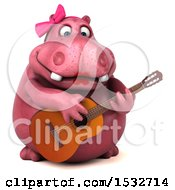 Clipart Of A 3d Pink Henrietta Hippo Playing A Guitar On A White Background Royalty Free Illustration by Julos