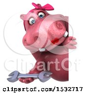 Clipart Of A 3d Pink Henrietta Hippo Holding A Wrench On A White Background Royalty Free Illustration by Julos