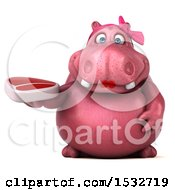 Clipart Of A 3d Pink Henrietta Hippo Holding A Steak On A White Background Royalty Free Illustration by Julos