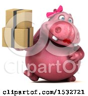 Clipart Of A 3d Pink Henrietta Hippo Holding Boxes On A White Background Royalty Free Illustration by Julos