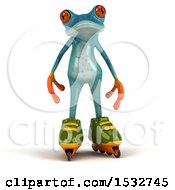 Clipart Of A 3d Blue Frog Roller Blading On A White Background Royalty Free Illustration