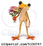 Clipart Of A 3d Yellow Frog Holding Flowers On A White Background Royalty Free Illustration