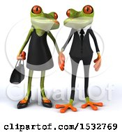 Clipart Of A 3d Formal Green Springer Frog Couple On A White Background Royalty Free Illustration