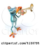 3d Blue Frog Playing A Trumpet On A White Background