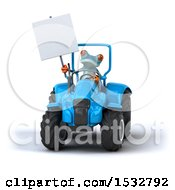 Poster, Art Print Of 3d Blue Frog With A Tractor On A White Background