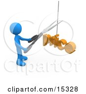 Blue Person Cutting A Price With A Pair Of Scissors Clipart Illustration Image