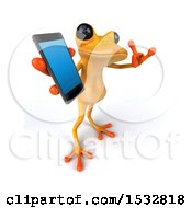 3d Yellow Frog Holding A Cell Phone On A White Background