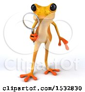 Clipart Of A 3d Yellow Frog Holding A Magnifying Glass On A White Background Royalty Free Illustration