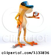 Clipart Of A 3d Yellow Frog Golfing On A White Background Royalty Free Illustration