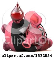 Clipart Of A 3d Pink Business Elephant Holding A Blood Drop On A White Background Royalty Free Illustration