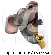 3d Elephant Playing A Saxophone On A White Background